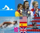 Podium swimming 800 m style free women's, Katie Ledecky (United States), Mireia Belmonte (Spain) and Rebecca Adlington (United Kingdom) - London 2012 -