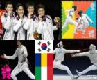 Podium fencing Men's team sabre, Korea of the South, Romania, Italy - London 2012 -
