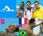 Podium swimming men's 50 metre freestyle, Florent Manaudou (France), Cullen Jones (United States) and César Cielo (Brazil) - London 2012 -