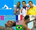 Podium swimming men's 50 metre freestyle, Florent Manaudou (France), Cullen Jones (United States) and César Cielo (Brazil) - London 2012 -