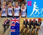 Podium cycling track pursuit by men's 4000m teams, United Kingdom, Australia and New Zealand - London 2012 -