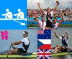 Podium rowing men's single sculls, Mahe Drysdale (New Zealand), Ondřej Synek (Czech Republic) and Alan Campbell (United Kingdom) - London 2012 -