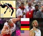 Athletics Men's shot put podium, Tomasz Majewski (Poland), David Storl (Germany) and Reese Hoffa (United States) - London 2012-