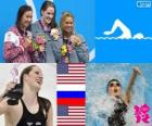 Women's swimming 200 m backstroke podium, Missy Franklin (United States), Anastasia Zueva (Russia) and Elizabeth Beisel (United States) - London 2012 -