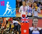 Women's Keirin track cycling podium, Victoria Pendleton (United Kingdom), Guo Shuang (China) and Lee Wai-Sze (Hong Kong) - London 2012 -