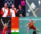 Women's singles Badminton podium, Li Xuerui (China), Wang Yihan (China) and Saina Nehwal (India) - London 2012 -