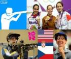 Podium shooting women's 50 metre rifle three positions, Jamie Lynn Gray (United States), Ivana Maksimović (Serbia) and Adela Sykorova (Czech Republic) - London 2012-