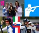 Podium shooting women's trap, Jessica Rossi (Italy), Zuzana Štefečekova (Slovakia) and Delphine Réau (France) - London 2012 -