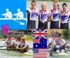 Podium rowing men's coxless four, United Kingdom, Australia and United States - London 2012-