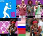 Women's singles tennis podium, Serena Williams (United States), Maria Sharapova (Russia) and Victoria Azarenka (Belarus) - London 2012 -