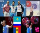 Men's 94 kg weightlifting podium, Ilya Ilyin (Kazakhstan), Alexandr Ivanov (Russia) and Anatoly Ciricu (Moldova) - London 2012-