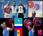 Men's 94 kg weightlifting podium, Ilya Ilyin (Kazakhstan), Alexandr Ivanov (Russia) and Anatoly Ciricu (Moldova) - London 2012-
