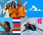 Podium swimming 50 m women's freestyle, Marleen Veldhuis, Ranomi Kromowidjojo (Netherlands) and Aliaxandra Herasimenia (Belarus) (Netherlands) - London 2012 -