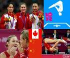 Podium gymnastics in women's trampoline, Rosannagh Maclennan (Canada), Huang Shanshan and He Wenna (China) - London 2012 -