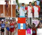 Podium Athletics men's 20 kilometres walk, Ding Chen (China), Erick Barrondo (Guatemala) and Wang Zhen (China) - London 2012 -