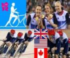 Podium cycling track pursuit by women's 4000m teams, United Kingdom, United States and Canada - London 2012 -