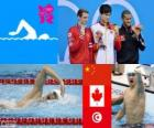 Podium swimming 1500 metres men's freestyle, Sun Yang (China), Ryan Cochrane (Canada) and Oussama Mellouli (Tunisia) - London 2012 -