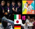 Men's foil team fencing podium, Italy, Japan and Germany, London 2012