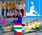 Canoe sprint K4 1000 m podium, Australia, Hungary and Czech Republic, London 2012