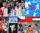 Modern pentathlon men's podium, David Svoboda (Czech Republic), Cao Zhongrong (China) and Ádám Marosi (Hungary), London 2012