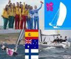 Podium sailing elliott 6 m, Támara Echegoyen, Sofía Toro, Ángela Pumariega (Spain), Olivia Price, Nina Curtis, Lucinda Whitty (Australia) and Silja Lehtinen, Silja Kanerva, Mikaela Wulff (Finland), London 2012