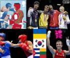 Podium boxing lightweight - 60 kg male, Vasyl Lomachenko (Ukraine), Han Soon-Chul (South Korea), Yasniel Toledo (Cuba) and Evaldas Petrauskas (Lithuania) - London 2012 -