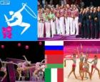 Women's rhythmic group all-around podium, Russia, Belarus and Italy, London 2012
