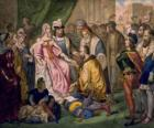 Columbus talking to the Queen Isabel I of Castile, in the court of Ferdinand and Isabella