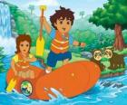 Diego and his mother in an inflatable boat