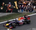 Sebastian Vettel celebrates victory in the Grand Prix di Corea del sud 2012