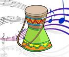A drawing of an African drum