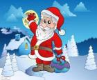 Santa Claus in a snowy landscape
