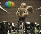 The rabbit Hop with the drumsticks to make music with the drum set