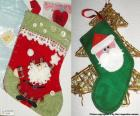 Christmas socks decorated with Santa Claus