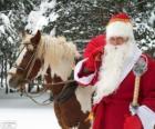 Santa Claus next to a horse