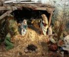 Scene  of the Jesus Nativity in a stable near Bethlehem