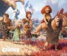 The six members of the Croods family