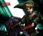 Link with sword and shield in the adventures of The Legend of Zelda video game
