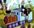 Krtek, the mole in a steam locomotive