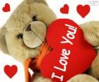 Teddy bear with hearts for Valentine's Day