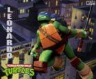 Leonardo, the ninja turtle attacking with katanas