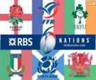 Six Nations Championship rugby with the participants: France, Scotland, England, Wales, Ireland and Italy