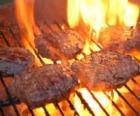 Barbecue prepared burgers