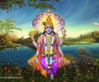 Vishnu, the preserver god in the Trimurti
