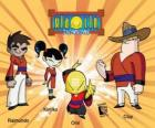 The four Xiaolin warriors: Raimundo, Kimiko, Omi and Clay