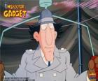The Inspector Gadget using one of his gadgets, the helicopter from the hat