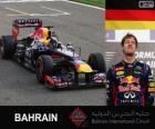 Sebastian Vettel celebrates his victory in the Grand Prix Bahrain 2013