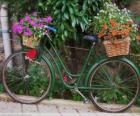 Bicycle with baskets full of flowers