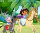 Dora and her monkey boots riding
