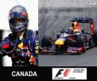 Sebastian Vettel celebrates his victory in the 2013 Canada Grand Prix
